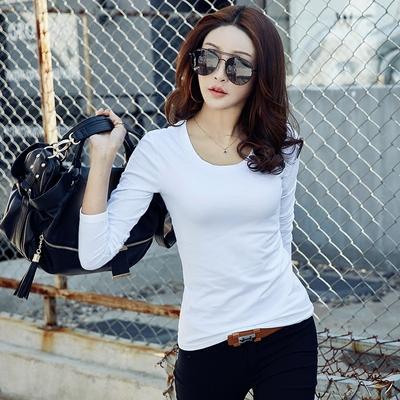 2018春季新款白色长袖t恤女纯棉修身圆领打底衫韩版简约紧身上衣