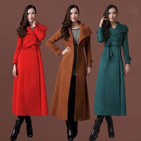 莎点17秋冬羊毛绒大衣 修身显瘦加长款大衣女 厚外套过膝毛呢大衣