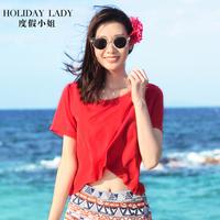 度假小姐短袖t恤沙滩红色上衣夏装女露脐装宽松体恤衫海边罩衫