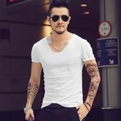 2件包邮 夏季英伦时尚修身V领体恤男装纯色纯棉鸡心领短袖T恤T582