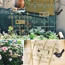 古典迷你栅栏形花插花园园艺铁艺复古法式古董风BAOZAKKA杂货