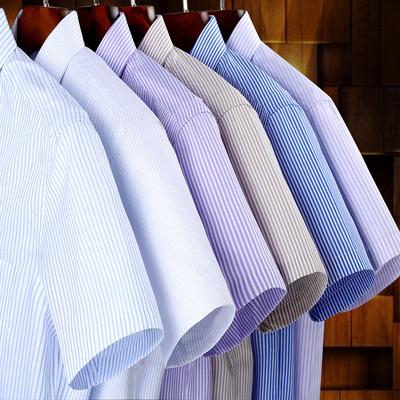 夏季纯棉免烫男士短袖衬衫加大码条纹职业工装商务正装男全棉衬衣