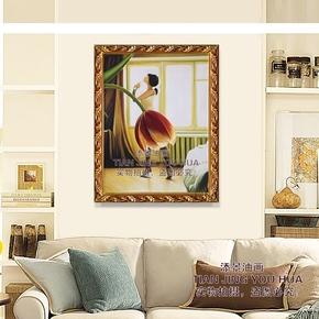 欧式手绘油画 抽象人物装饰画 芭蕾舞者 客厅玄关舞蹈室单幅挂画