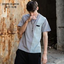 潮M01974 T恤 休闲短袖 宽松竖条拼色半袖 新款 迪尔马奇2018夏装 男士图片