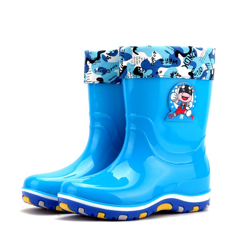胶鞋 卡通防滑套鞋 天天特价 雨靴加绒加棉保暖水鞋 冬季儿童雨鞋
