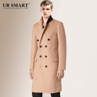 贵族风范URSMART秋品双排扣长款男士羊毛大衣驼色男外套