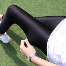 Bottom pants, thin spring and summer black, slim gloss pants, high waist trousers, small feet pants, large size, slim and tight pants