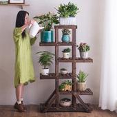 防腐木植物木质花架子室内多层特价阳台花架实木落地式客厅花盆架