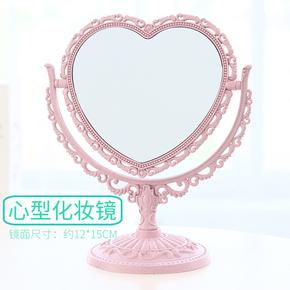 小镜子化妆镜台式梳妆镜宿舍美妆放大随身便携小镜韩版双面公主镜
