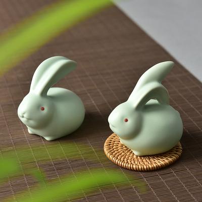 十二生肖汝窑茶宠开片可养茶盘摆件猴年兔子鼠牛虎龙蛇马羊鸡狗猪