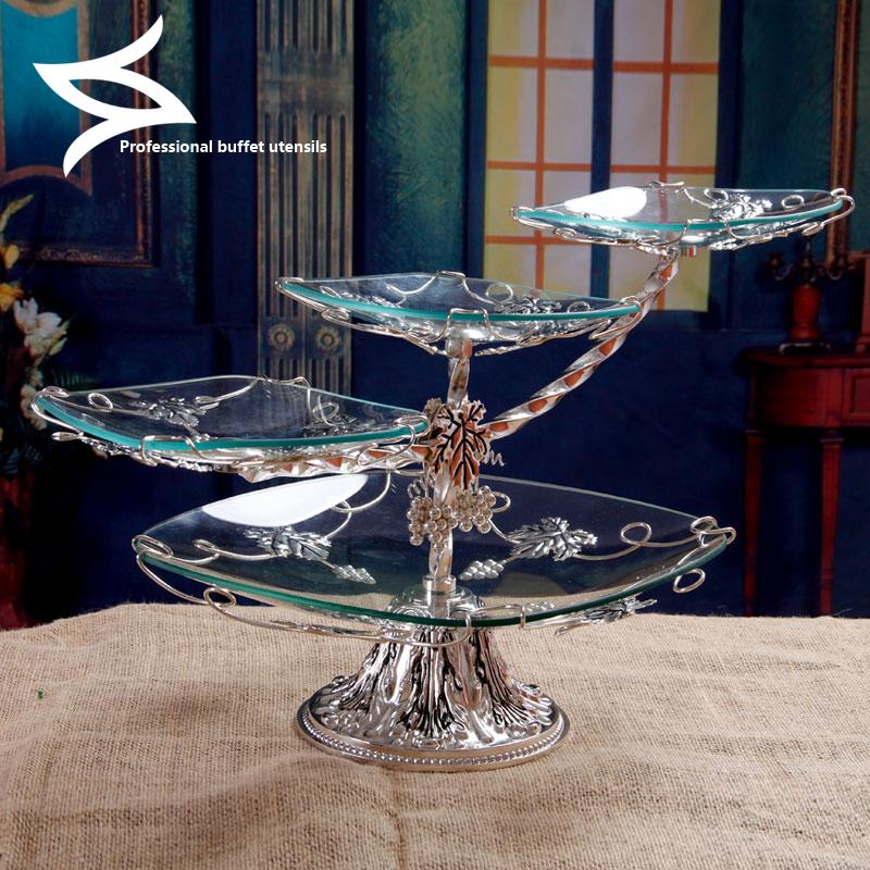 欧式奢华玻璃水果盘现代客厅干果盘创意家用点心盘多层三层蛋糕架