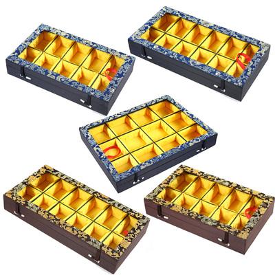 平盖多格盒首饰把件锦盒古玩文玩盒礼品收纳玉器珠宝箱带扣带盖子