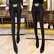 秋冬新款外穿打底裤女高腰弹力紧身小脚裤加绒涂层铅笔裤女士长裤