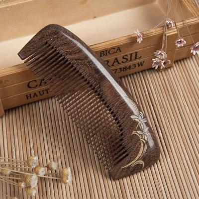 金丝檀木梳子正品天然防静电加厚整木圆齿毕业纪念非桃木头梳子