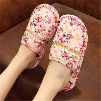 Environmentally friendly cotton cloth bottom fabric wooden floor home indoor slippers autumn and winter couples men and women soft bottom silent