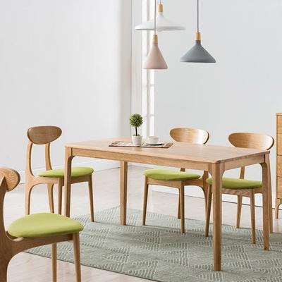 日式纯实木餐桌椅组合全白橡木小户型餐厅家具餐厅长方形饭桌打折促销