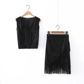 外贸原单大牌出口欧美风剪标真品尾单 新款鹿皮绒流苏性感半身裙