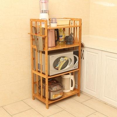 厨房架置物架子微波炉架落地多层收纳储物架烤箱架调味架实木楠竹
