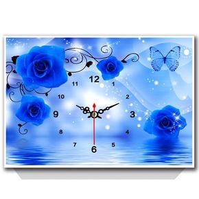 钟表钻石画满钻客厅卧室新款蓝色妖姬现代装饰画diy十字绣贴钻画