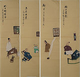 Four screen characters antique characters ink painting 205