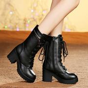 秋冬季马丁靴女粗跟加绒棉靴真皮中筒靴英伦风高跟棉鞋厚底女靴子