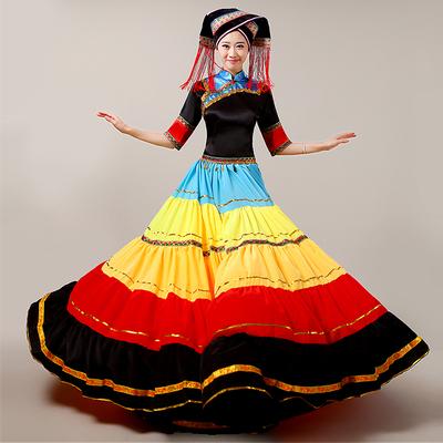 彝族衣服彝女成人舞蹈服装新款云南大摆裙少数民族风苗族演出服
