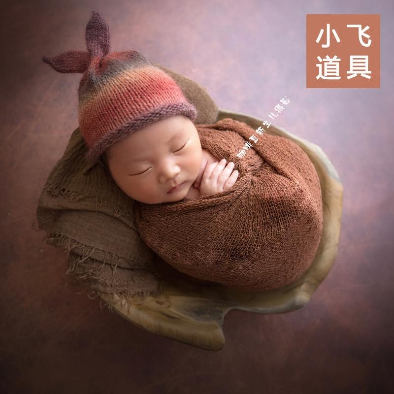 小飞新生儿摄影道具宝宝拍照婴儿拍摄高档柚木盆容器【进口特价