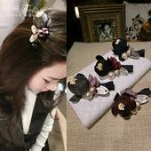 妃琳韩国东大门发夹饰品布艺花朵珍珠铁牌刘海鸭嘴夹边夹卡子发饰