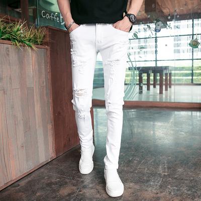 冬季弹力白色牛仔裤男青少年小脚长裤韩版修身潮男裤子破洞铅笔裤