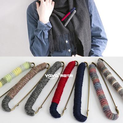 韩国时尚饰品 彩色毛线大号毛衣胸针别针女 胸花围巾丝巾扣披肩扣