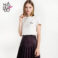 Haoduoyi欧美冷淡风ins超火甜美学生字母体恤绣花圆领短袖T恤女