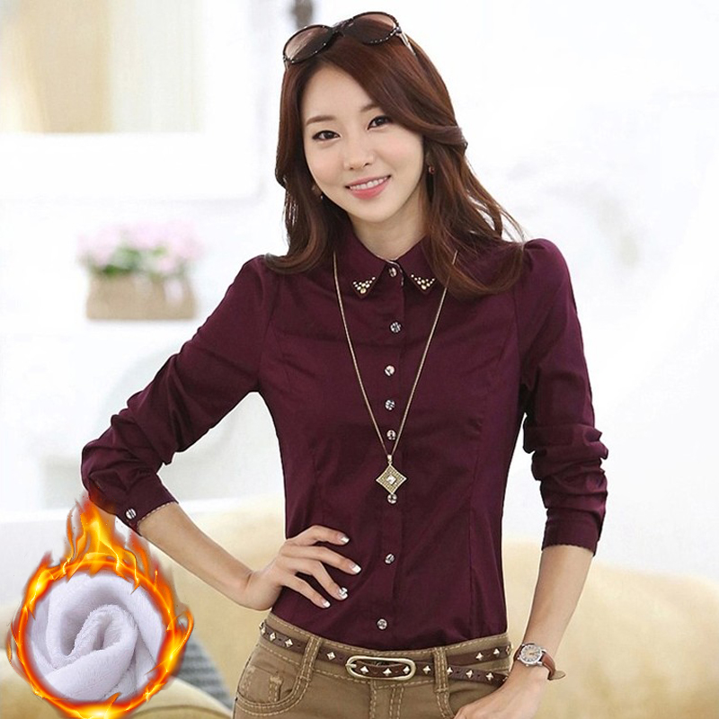 Autumn and velvet long-sleeved shirt ladies business Slim OL commuter overalls professional lining