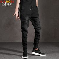 Autumn and winter models plus velvet jeans male Slim Korean version of the feet black trend beam feet thickening Harlan pants male loose