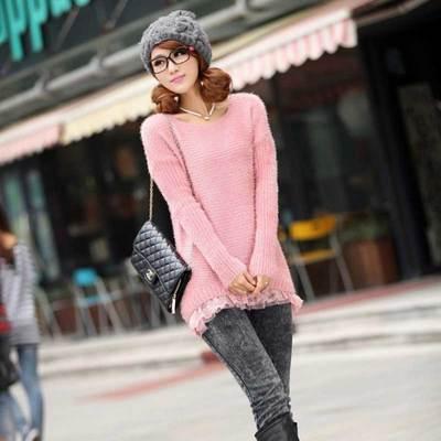 新款 韩版蕾丝拼接毛茸茸套头毛衣女宽松显瘦针织衫上衣