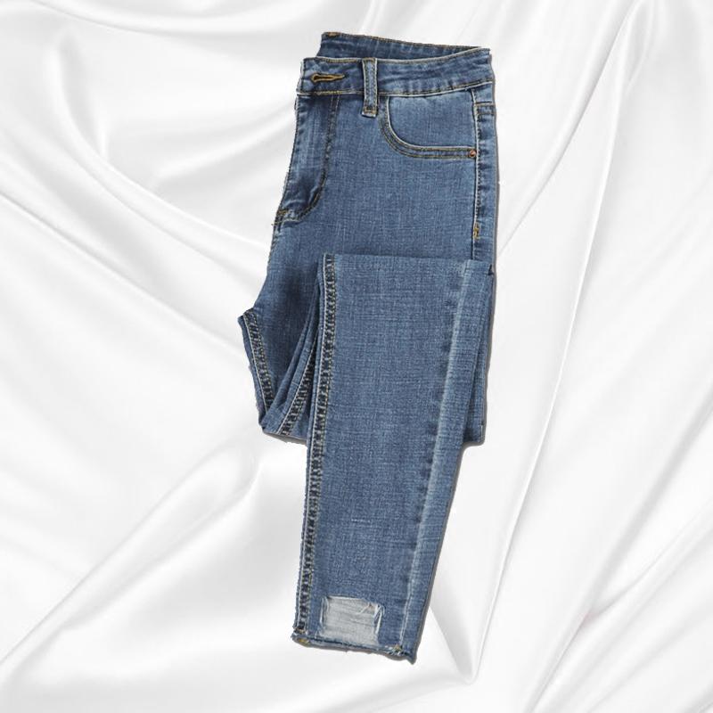 牛仔裤女高腰薄