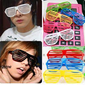 百叶窗眼镜男女通用夜店酒吧派对彩色胶框百叶窗眼镜框架眼镜