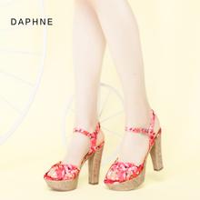 达芙妮春夏粗跟显瘦休闲甜美印花超高跟凉鞋 女1515303039 Daphne