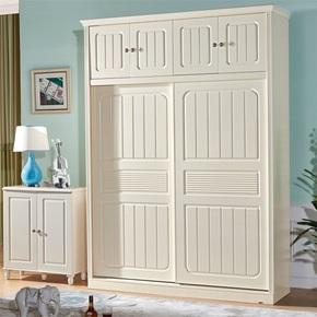 金米莱欧式实木推拉移门大衣柜带顶柜加高两三门趟门田园衣橱白色