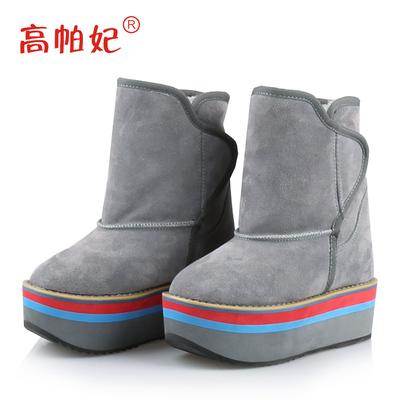 2018冬季厚底雪地靴女短筒 松糕跟防水台保暖棉靴子内增高短靴女