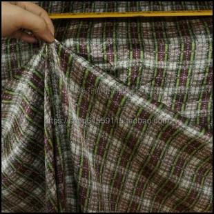 夏季桑蚕丝真丝素绉缎面料丝绸连衣裙旗袍布料 抽象绿灰色格子