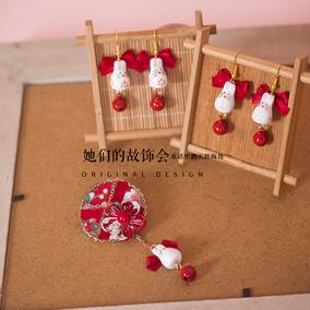 4月樱花祭陶瓷兔子日本和风布艺发饰 大红色蝴蝶结铃铛耳饰耳夹