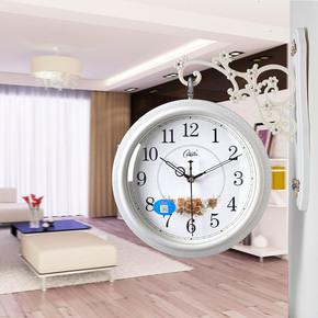 正品康巴丝钟表田园小双面挂钟客厅厨房挂表超静音欧式仿实木吊