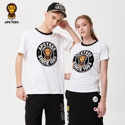 安逸猿情侣装夏装2018新款ape潮牌休闲时尚印花个性纯棉短袖t恤女