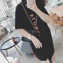 2018夏新款大码女装印花不规则下摆连衣裙200斤胖mm显瘦撞色T恤裙