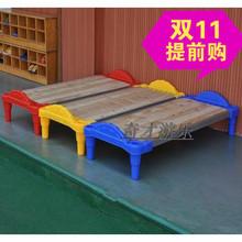 幼儿园专用通铺床儿童塑料木板床幼儿学生单人叠叠小床宝宝午睡床