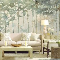 紫藤卧室背景北欧现代中式田园仿麻布质感壁纸德国进口墙纸SUT