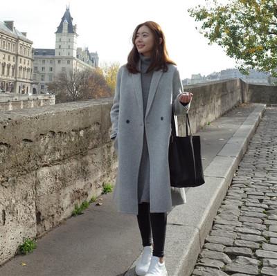 韩版新款呢子大衣秋冬季女士中长款时尚加厚直筒宽松毛呢风衣外套