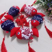 乌镇蓝色花布鱼挂件中国结年年有鱼布艺出国礼品二红头蓝身富贵鱼