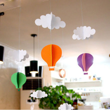 Hot air balloon three dimensional DIY felt pendant, birthday party, decorations, children's room, wedding room layout