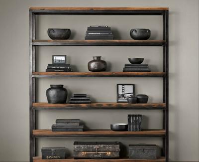 美式乡村北美黑胡桃木书架实木置物架层架法式LOFT工业铁艺书柜什么牌子好